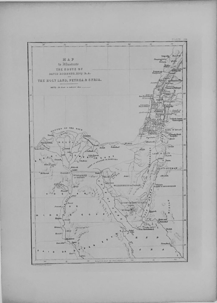Map to Illustrate The Route of David Roberts. David ROBERTS.