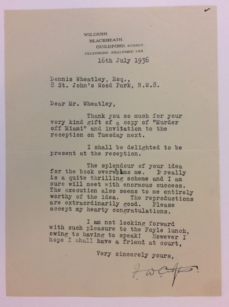 Typed Letter Signed. Freeman Willis CROFTS, 1879 - 1957.