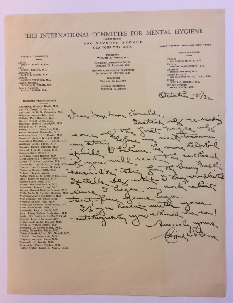 Autographed Letter Signed. Clifford W. BEERS, 1876 - 1943.