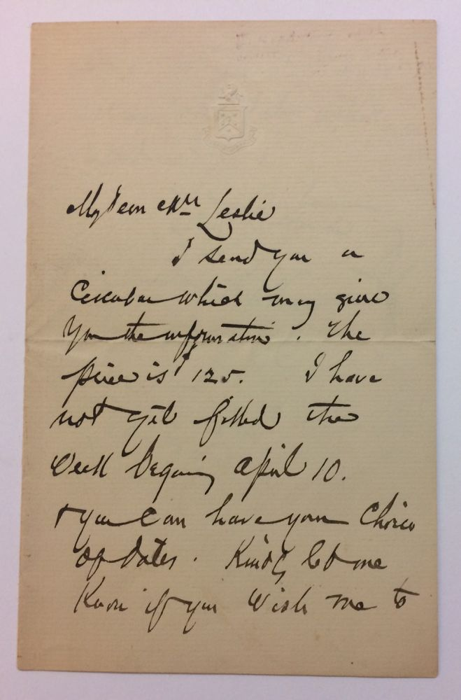Autographed Signed Letter. Francis Hopkinson SMITH, 1838 - 1915.