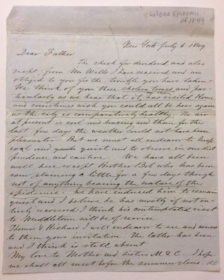 Autographed Letter Signed. NEW YORK STATE: Cholera Epidemic of 1849.