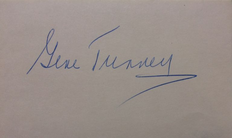 Signed Card. Gene TUNNEY.