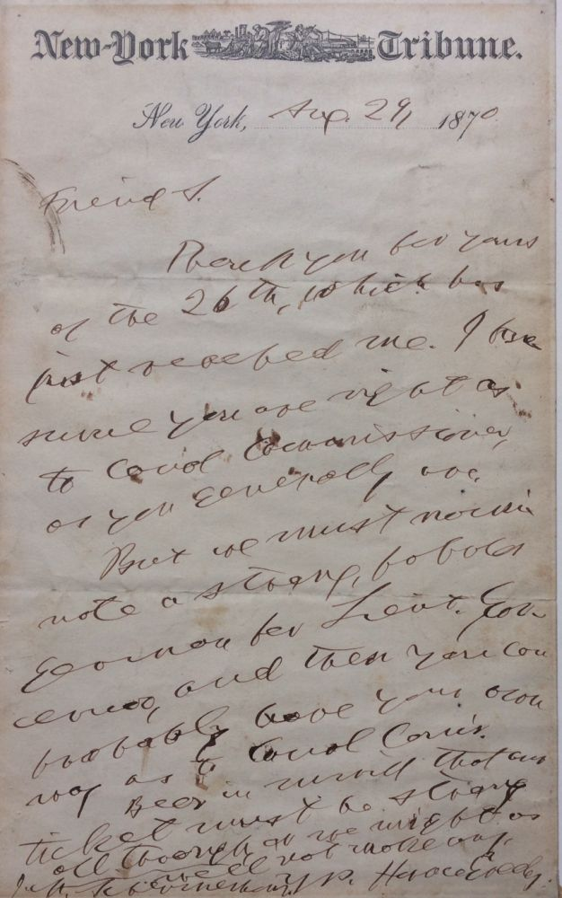Autographed Letter Signed. Horace GREELEY.