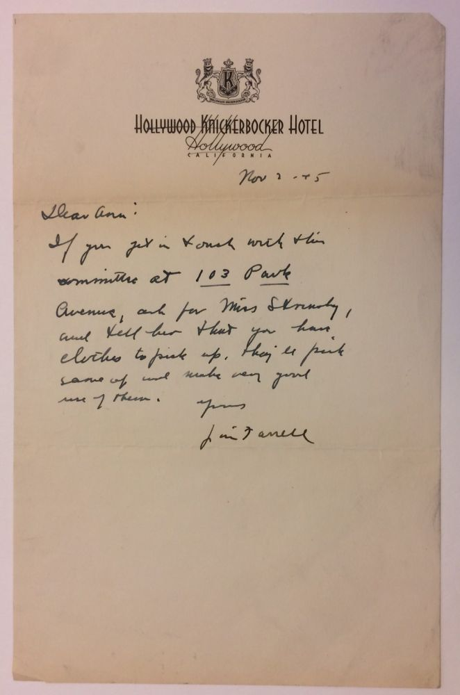 Autographed Letter Signed. James T. FARRELL.