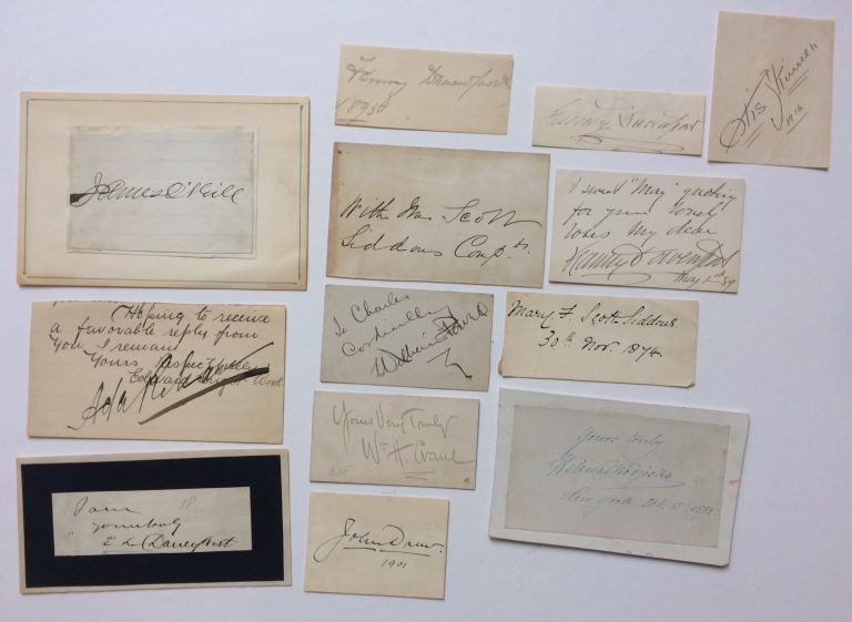 Thirteen late 19th and early 20th signatures in various formats. VINTAGE ACTORS, ACTRESSES.