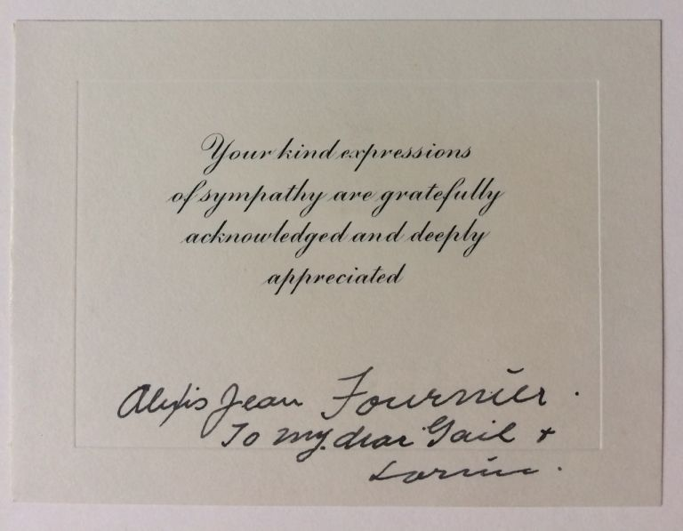 Signed Bereavement Card. Alexis Jean FOURNIER.