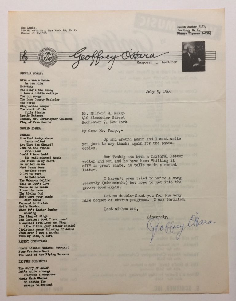 Typed Letter Signed. Geoffrey O'HARA.