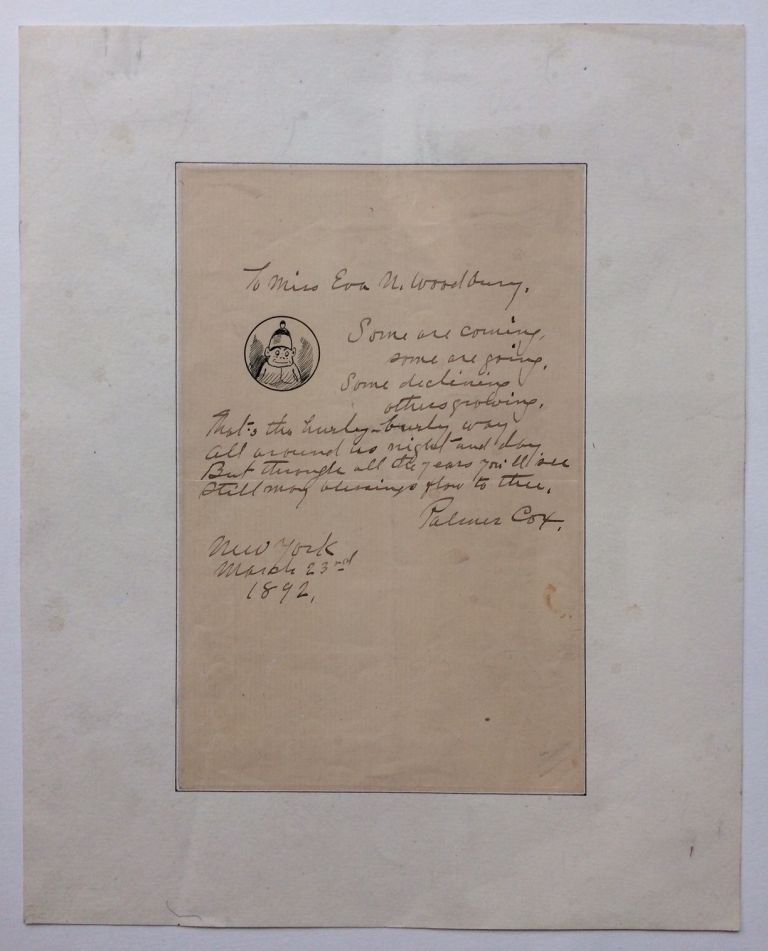 Autographed Letter Signed with Small Drawing. Palmer COX.
