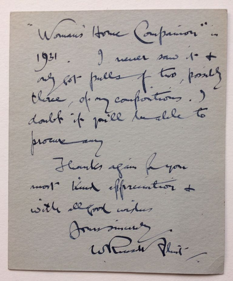 Autographed Letter Signed. William Russell FLINT, Sir.