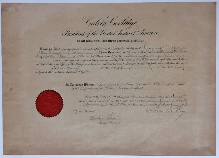 Document Signed. Calvin COOLIDGE.