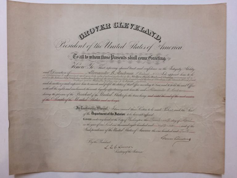 Document Signed; Historic Railroad Appointment. Grover CLEVELAND.