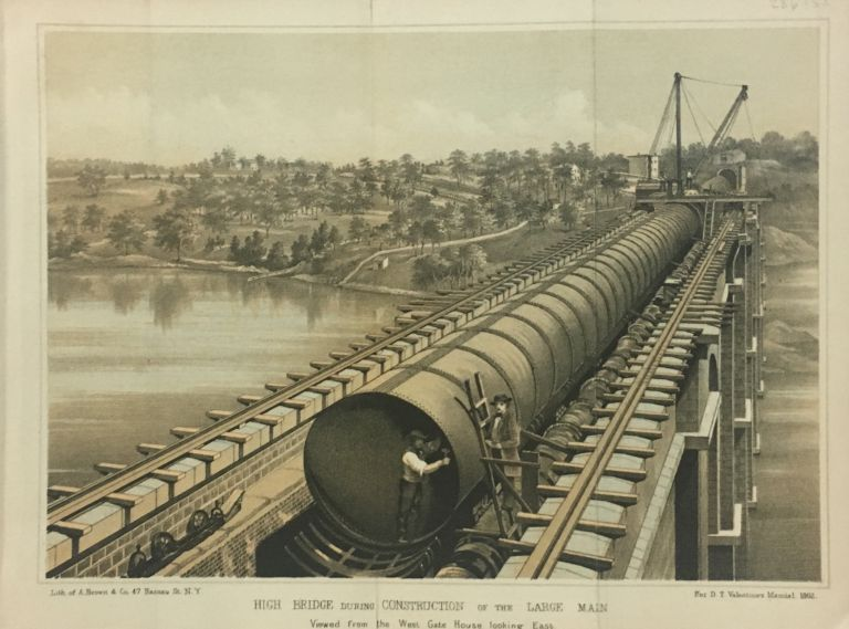 High Bridge During Construction of the Large Main; Viewed from the West Gate House looking East. D. T. VALENTINE, David Thomas.