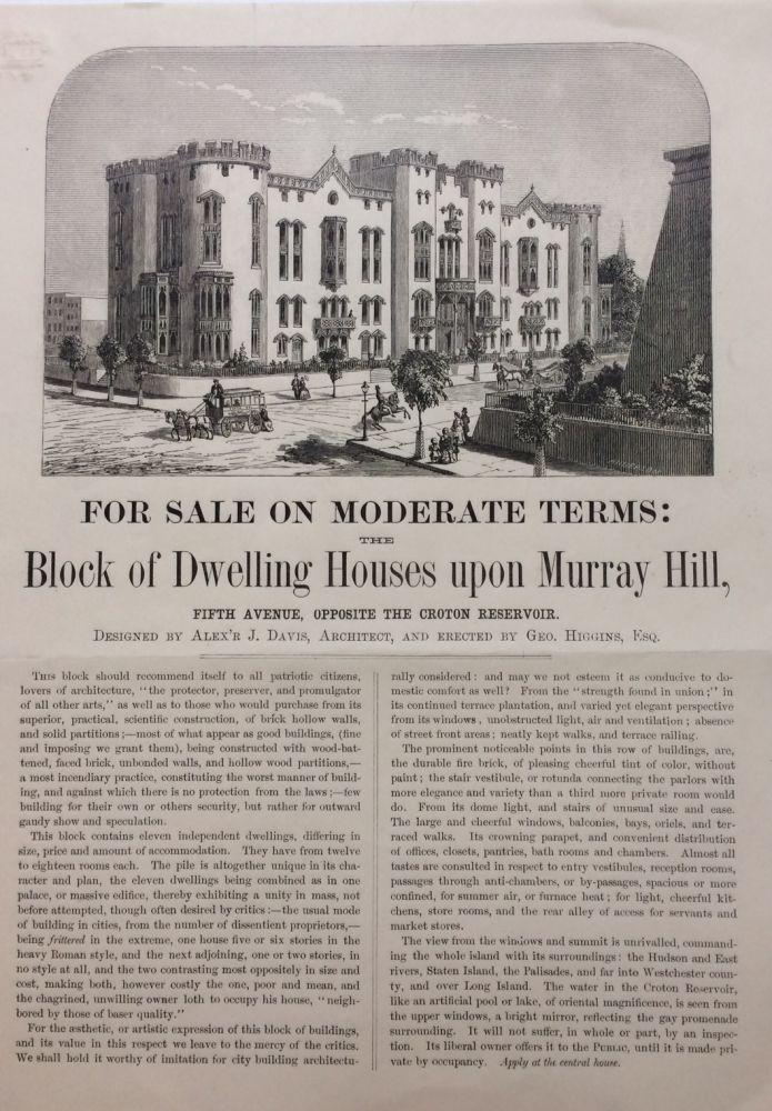 For Sale on Moderate Terms: The Block of Dwelling Houses upon Murray Hill, Fifth Avenue, Opposite the Croton Reservoir. BROADSIDE.