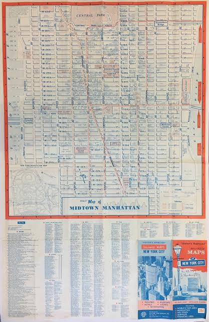 Map of Midtown Manhattan. Map Corporation of America.