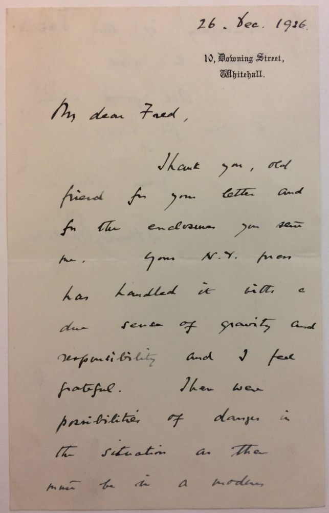 Autographed Letter Signed. Stanley BALDWIN.