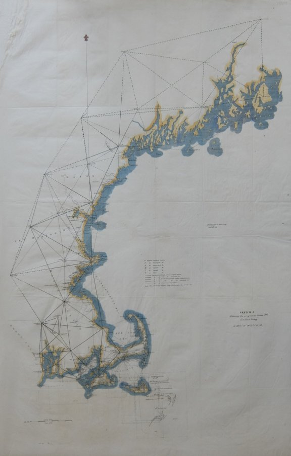 Sketch A Showing the progress in Section No. 1 US Coast Survey in 1844-'45-'46-'& '49. Alexander Dallas BACHE.