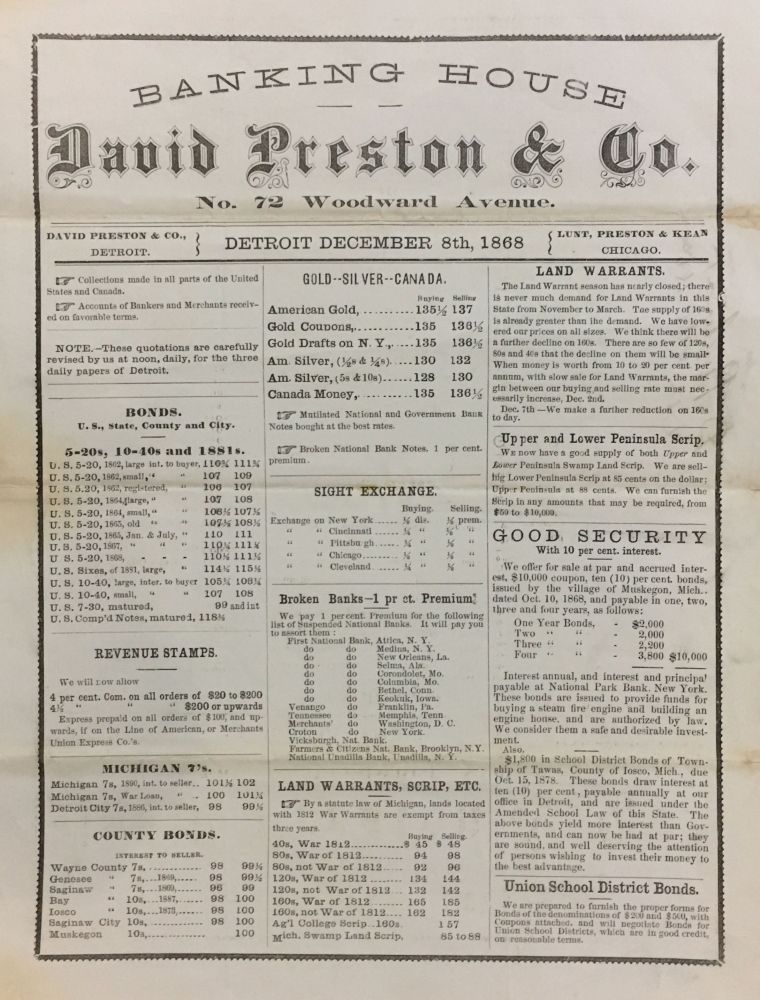 [Broadside Advertising Land Grants, 1812 War Warrants, Civil War Bonds]. DAVID PRESTON, CO.