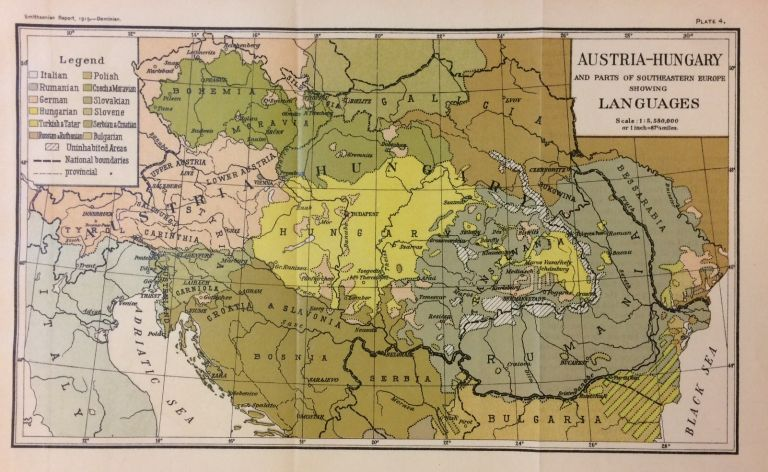 Austria-Hungary and Parts of Southeastern Europe showing Languages. THE SMITHSONIAN INSTITUTION.
