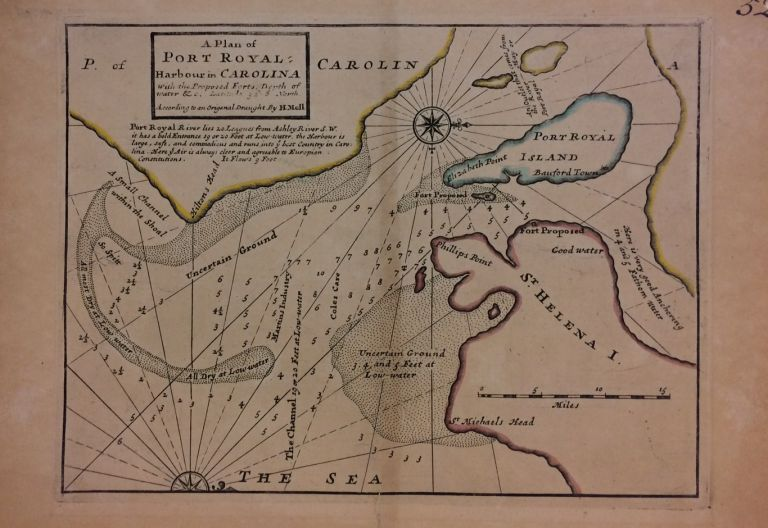A Plan of Port Royal Harbour in Carolina with the Proposed Forts, Depth of Water &c. Hermann MOLL.