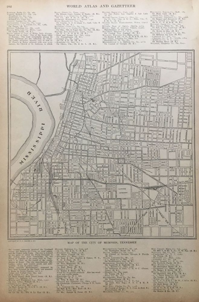 Map of the City of Memphis, Tennessee. P. F. COLLIER, Adam WARD.