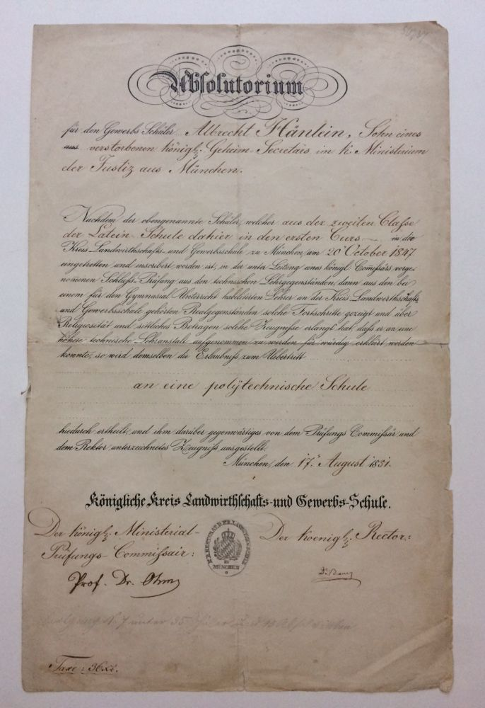 Partly-Printed Document Signed. Georg Simon OHM.