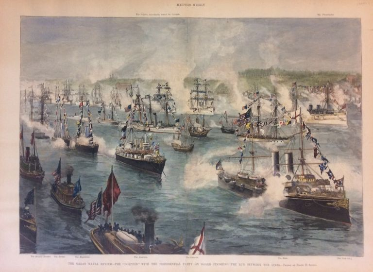 "The Great Naval Review - The ""Dolphin"" with the Presidential Party on board finishing the run between the lines. Frank H. SCHELL, HARPER'S WEEKLY."