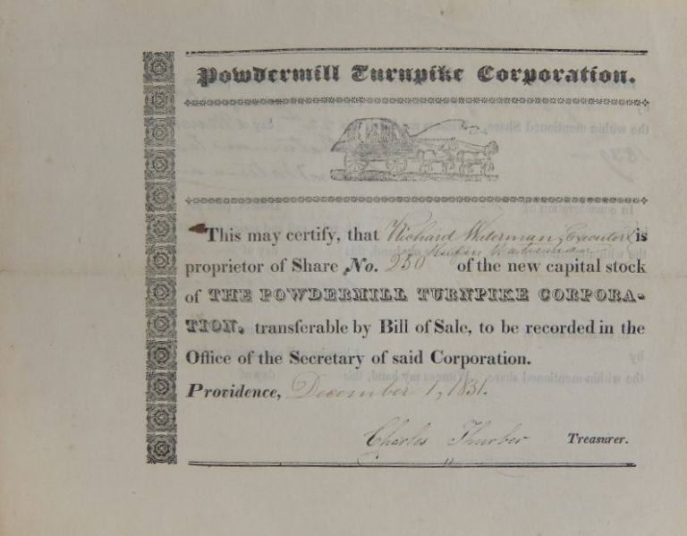 Share No. 20 of The Powdermill Turnpike Corporation. POWDERMILL TURNPIKE CORPORATION.