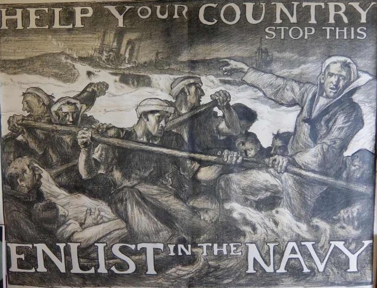 Help Your Country Stop This: Enlist in the Navy. Sir Frank BRANGWYN.