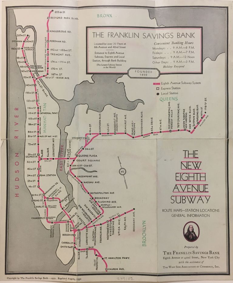 The New Eighth Avenue Subway; Route Maps - Station Locations General Information. FRANKLIN SAVINGS BANK.