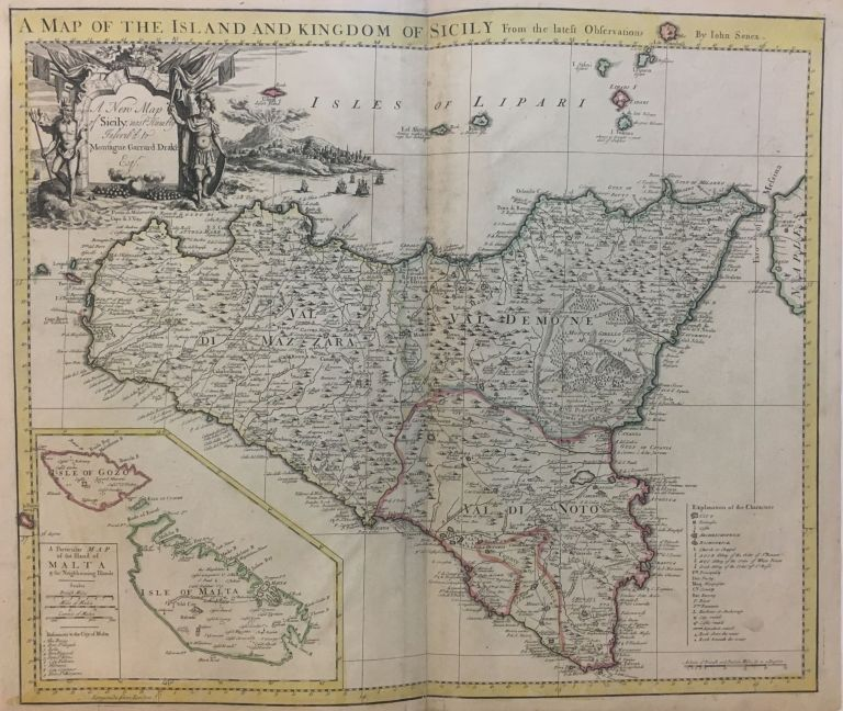 A Map of the Island and Kingdom of Sicily From the latest observations; A New Map of Sicily, most Humbly Inscr'd to Montague Garrard Drake Esq. John SENEX.