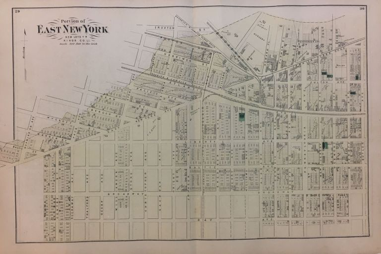 Portion of East New York New Lots, Kings Co. L.I.; Early Beers map of Bushwick Brooklyn! Frederick W. BEERS.