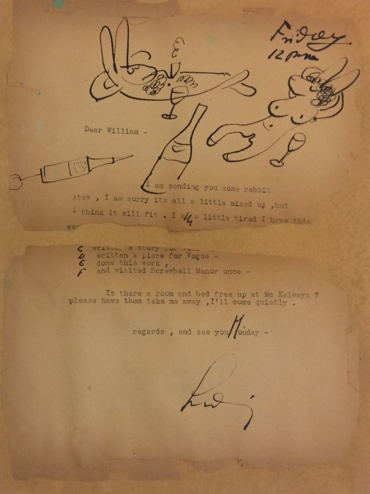 Typed Letter Signed; with manuscript notations and drawing. Ludwig BEMELMANS.