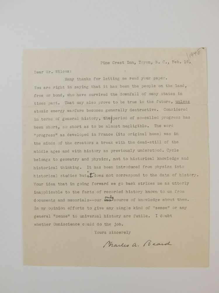 Typed Letter Signed. Charles A. BEARD.