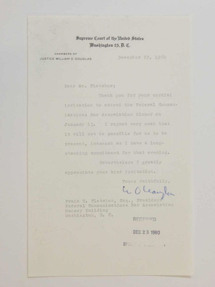 Typed Letter Signed. William O. DOUGLAS.