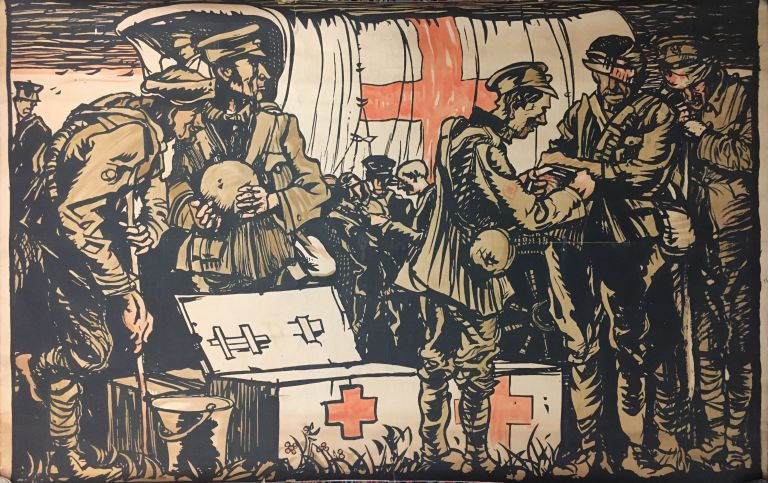 First Aid Military Poster. Sir Frank BRANGWYN.