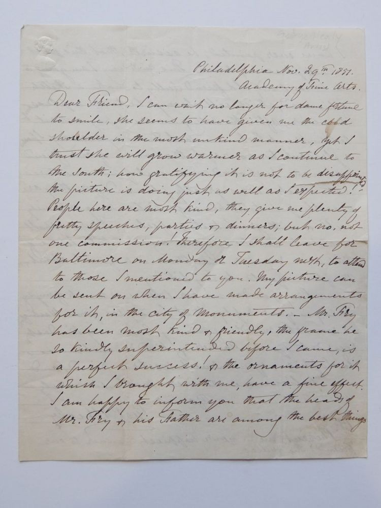 Autograph Letter Signed. George Peter Alexander HEALY.