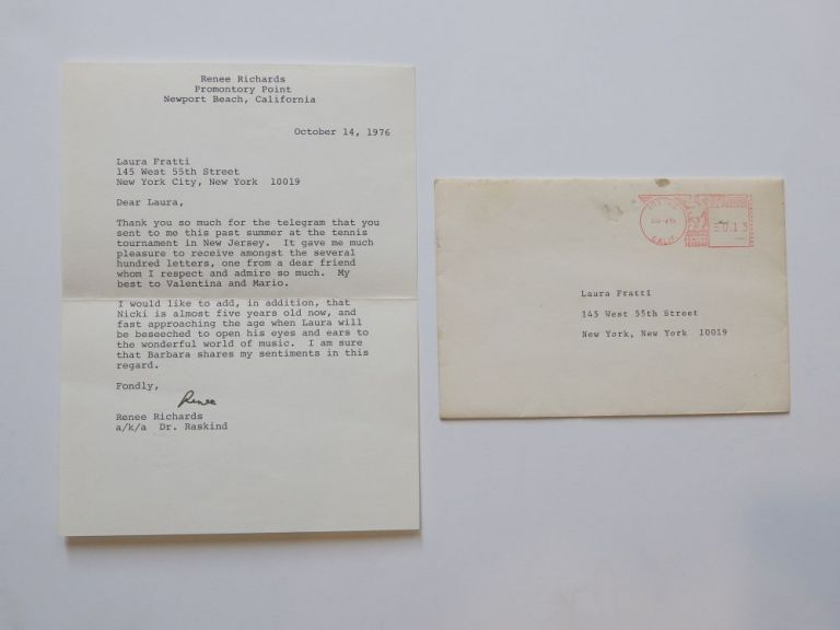 Typed Letter Signed. Renee RICHARDS, 1934-.