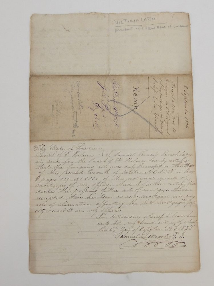 Rare Autograph Document Signed; Shares of Capitol Stock for Parcels of Land and Slaves. THE CITIZENS BANK OF LOUISIANA.