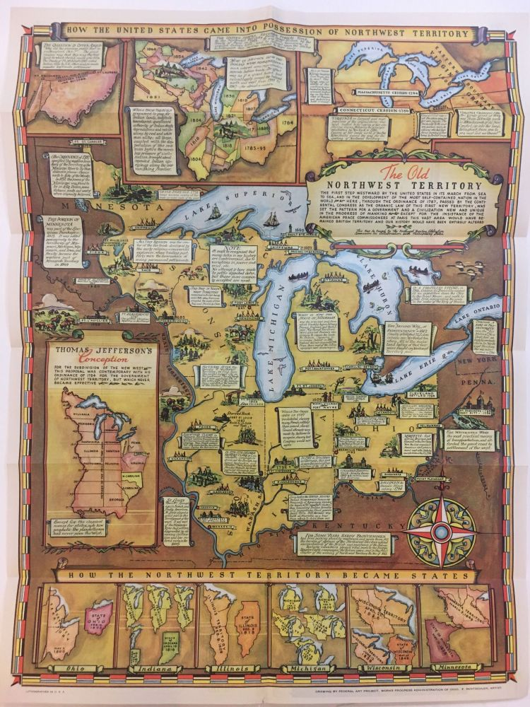 Historical Map of the Old Northwest Territory. WORKS ADMINISTRATION OF OHIO FEDERAL ART PROJECT.