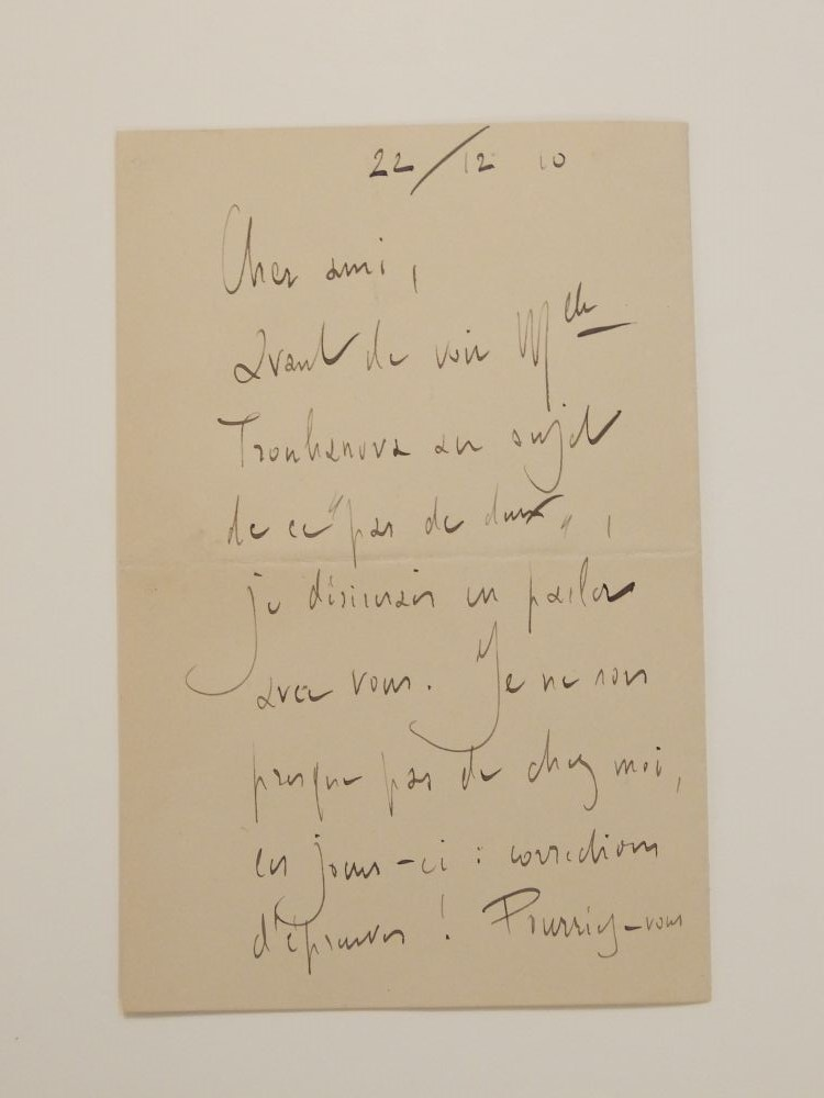 Autograph Letter Signed. Maurice RAVEL.