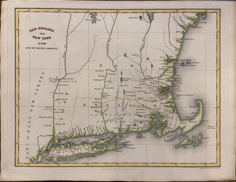 """New England and New York in 1697; from the """"Magnalia Americana"""" Isaac Taylor HINTON."""
