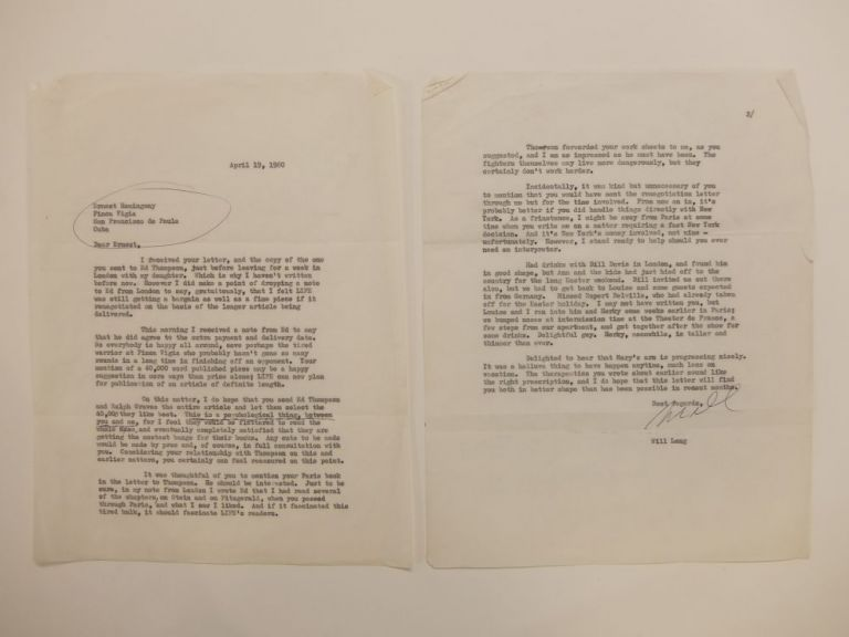 Signed Typed Carbon Letter. Will LANG.