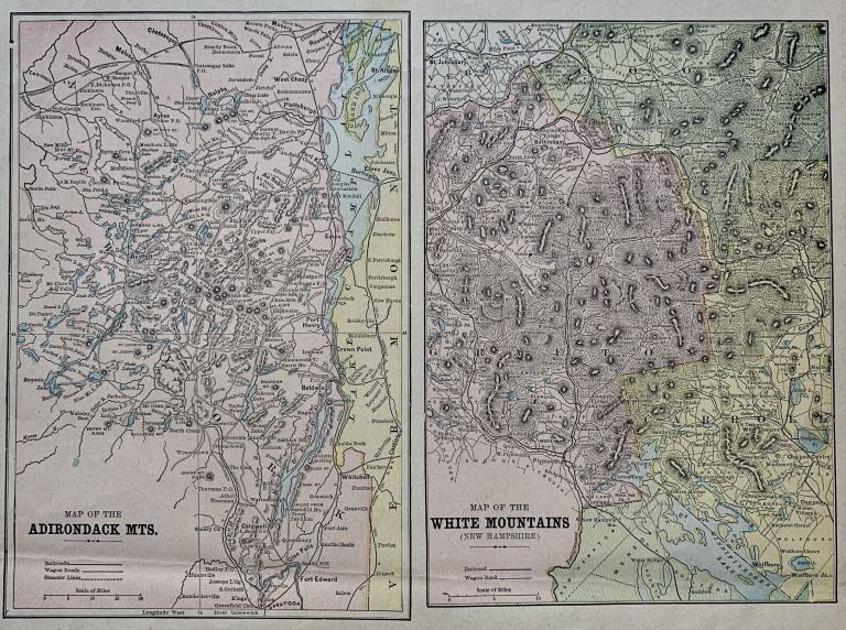 Map of the Adirondack Mts. & Map of the White Mountains (New Hampshire). George F. CRAM.