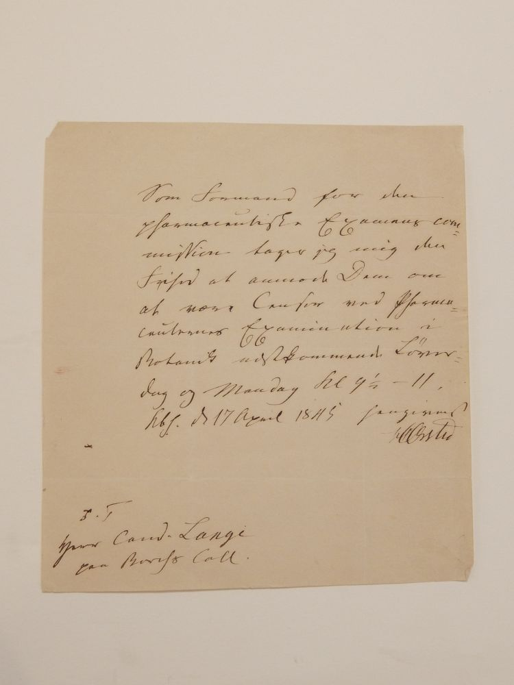 Autograph Note Signed. Hans Christian ORSTED.