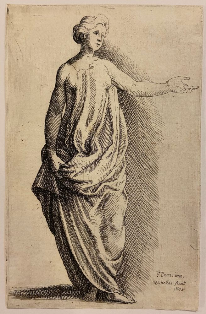Untitled (standing woman with outstretched arm). Wenceslaus HOLLAR.