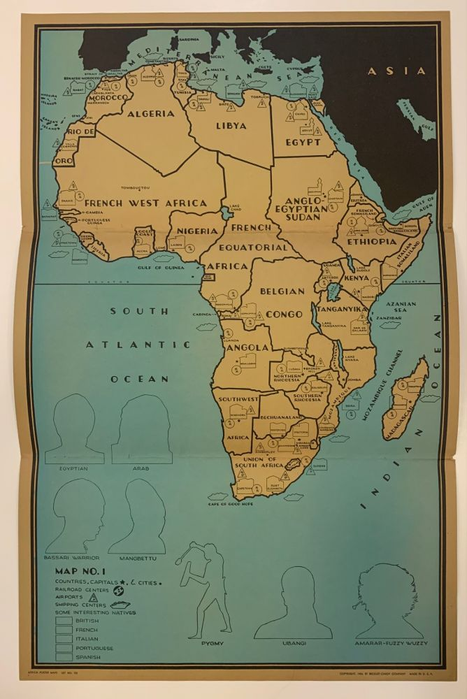 Africa Poster Maps; (Complete Set with Instructions, Game Pieces and Original Folder). Francis Raymond ELMS.