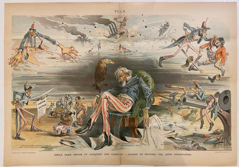 Uncle Sam's Dream of Conquest and Carnage; Caused by Reading the Jingo Newspapers. PUCK.