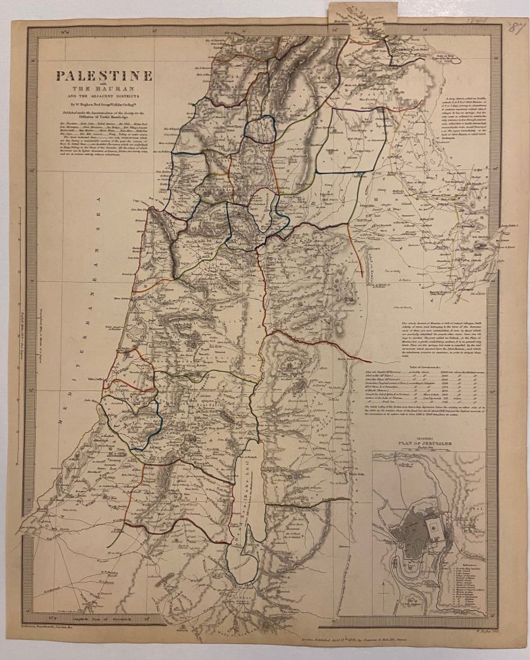 Palestine with The Hauran and the Adjacent Districts. SDUK, Society for the Diffusion of Useful Knowledge.