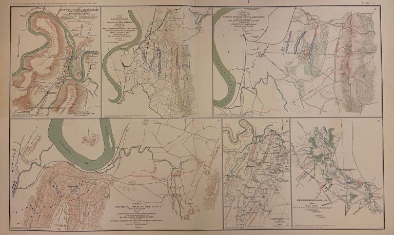 Map of Country in Vicinity of Brown's Ferry; Map of the Battlefield of Missionary Ridge; Map illustrating the positions of the Second Division, Fourth Army Corps; Battle of Lookout Mountain, Tennessee; Chattanooga and Vicinity; Red River Expedition. Julius BIEN.