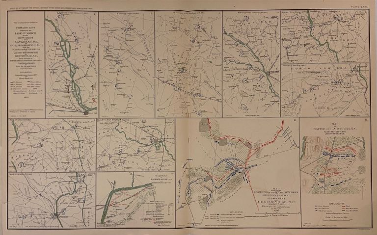 Campaign Maps exhibiting the Line of March of the 20th Corps from Savannah, GA., Goldsborough, N.C., with the Plans of the Battle-Fields of Averyborough and Bentonville, N.C. Julius BIEN, C. W. ASMUSSEN.